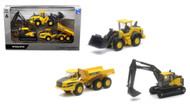 "Volvo Construction Vehicle Deluxe Play Set 5"" Long 3 Pack By Newray 32095"