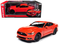 2016 Ford Mustang GT 5.0 Orange 1/18 Scale Diecast Car Model By Auto World AW242