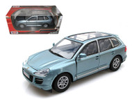 Porsche Cayenne Turbo Silver Blue 1/24 Scale Diecast Car Model By Motor Max 73345