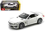 Mercedes Benz SL65 AMG White 1/24 Scale Diecast Car Model By Bburago 21066