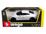 2017 Nissan GT-R R35 White 1/24 Scale Diecast Car Model By BBurago 21082