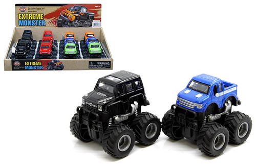 """Extreme Monsters 4X4 Truck & SUV 2 Styles 5 Colors Box Of 12 3.5"""" Long Pull Back"""