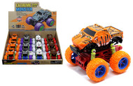 """Extreme Monsters 4X4 Truck Animal Prints 2 Styles 4 Colors Box Of 12 4"""" Long Pull Back"""