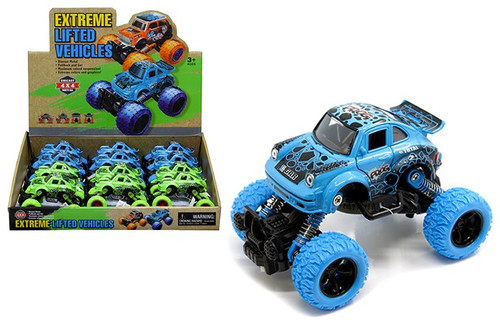"Extreme Lifted Vehicle Car Blue & Green Box Of 12 5.5"" Long Pull Back"