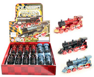 "Classic Train With Lights & Sound Box Of 12 6"" Long Pull Back Action Assortment"