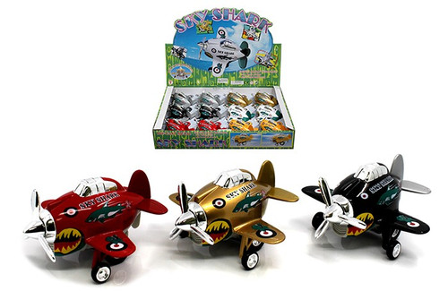 "Airplane Display Sky Shark Plane Box Of 12 3.5"" Long Pull Back Action Assortment"