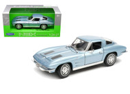 1963 Chevrolet Corvette Blue 1/24-27 Scale Diecast Car Model By Welly 24073