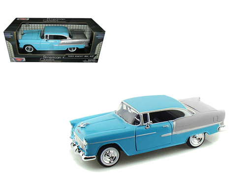 1955 Chevrolet Bel Air Blue 1/24 Scale Diecast Car Model By Motor Max 73229