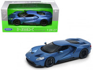 2017 Ford GT Blue 1/24-27 Scale Diecast Car Model By Welly 24082