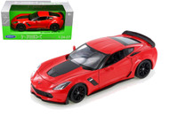 2017 Chevrolet Corvette Z06 Red 1/24-27 Scale Diecast Car Model By Welly 24085