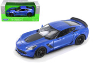 2017 Chevrolet Corvette Z06 Blue 1/24-27 Scale Diecast Car Model By Welly 24085