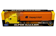 Freightliner Columbia Hapag-Lloyd Yellow Cab Container Semi Truck & Trailer 1/32 By Welly 32621