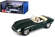 1961 Jaguar E Type Convertible Green 1/18 Diecast Car Model By Bburago 12046