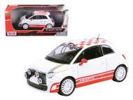 Fiat Abarth 500 R3T White 1/24 Scale Diecast Car Model By Motor Max 73379