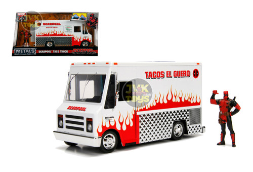 Marvel Deadpool Taco Lunch Truck With Diecast Figure Hollywood Rides 1/24 Scale By Jada 99730