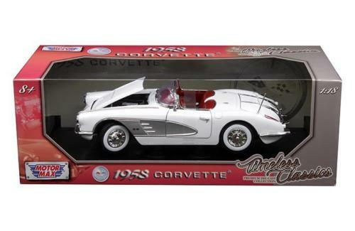 1958 Chevrolet Corvette Convertible White 1/18 Scale Diecast Car Model By Motor Max 73109