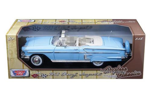 1958 Chevrolet Impala Convertible Blue 1/18 Scale Diecast Car Model By Motor Max 73112