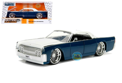 1963 Lincoln Continental Blue & White 1/24 Scale Diecast Car Model By Jada 99554