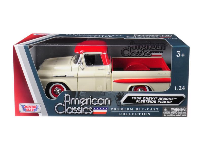1958 Chevrolet Apache Fleetside Pick Up Truck Beige Red 124