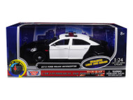 2013 Ford Police Interceptor With Flashing Lights & Two Sounds Black and White 1/24 Scale Diecast Car Model By Motor Max 79539