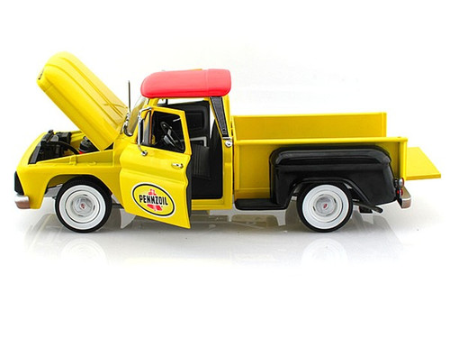 1965 Chevrolet C-10 Stepside Pick Up Truck Pennzoil Yellow 1/18 Scale Diecast Model By Greenlight 12873