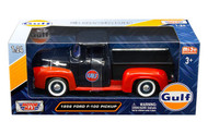 1956 Ford F-100 Pickup Truck Gulf Oil 1/24 Scale Diecast By Motor Max 79647