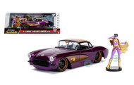 1957 Chevrolet Corvette DC Comics Bombshell With Batgirl Figure 1/24 Scale By Jada 30457