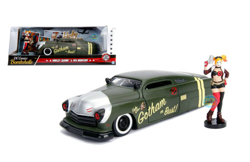 1951 Mercury Matt Green DC Comics Bombshells With Harley Quinn Figure 1/24 Scale By Jada 30456