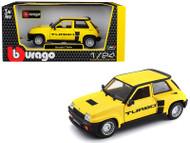 1982 Renault 5 Turbo Yellow 1/24 Scale Diecast Car Model By Bburago 21088