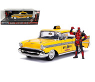 1957 CHEVROLET BEL AIR TAXI DEADPOOL FIGURE 1/24 SCALE BY JADA 30290