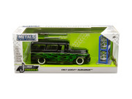1957 Chevrolet Suburban Black Green Flames & Extra Wheels 1/24 Scale By Jada 97821
