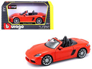 Porsche 718 Boxster Orange 1/24 Scale Diecast Model Car By Bburago 21087