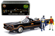 1966 BATMOBILE DC TV SERIES 1/18 SCALE WITH LIGHTS & BATMAN ROBIN FIGURES 98625
