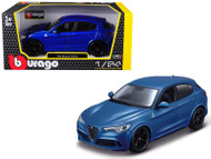 Alfa Romeo Stelvio Blue 1/24 Scale Diecast Car Model By Bburago 21086