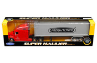 Freightliner Columbia Container Red & Grey Semi Truck & Trailer 1/32 By Welly 32621