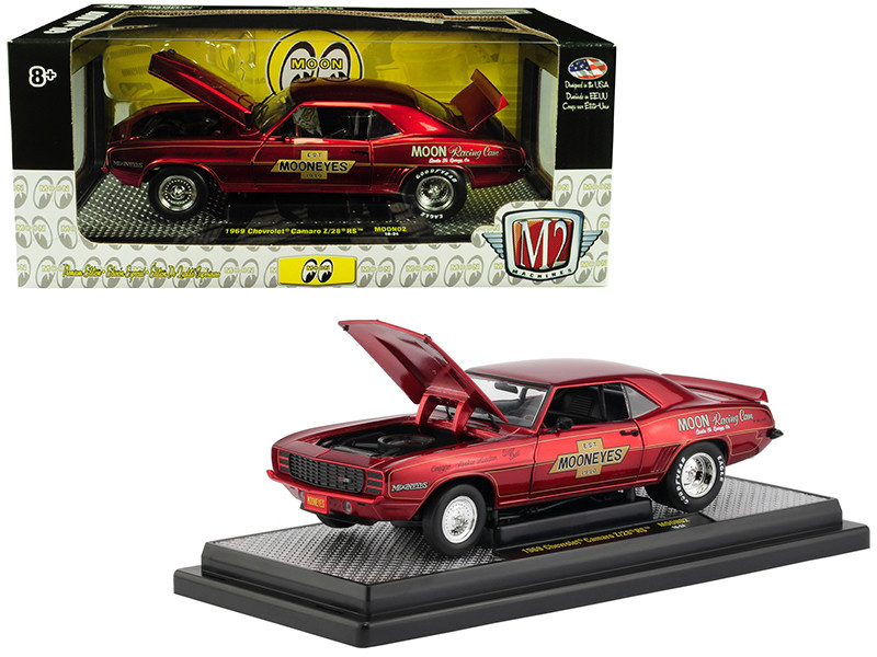 1969 Chevrolet Camaro Z28 RS Red Mooneyes 1/24 Scale Diecast Car Model M2  Machines 40300-MOON02A