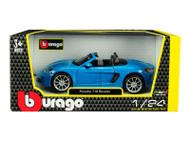 Porsche 718 Boxster Blue 1/24 Scale Diecast Model Car By Bburago 21087
