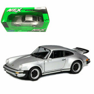 1974 Porsche 911 Turbo 3.0 Silver 1/24 Scale Diecast Car Model By Welly 24043