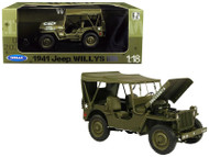 1941 Jeep Willys MB Soft Top Green WWII US Army 1/18 Scale By Welly 18055