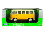 1963 Volkswagen T1 Microbus Yellow 1/18 Scale Diecast Car Model By Welly 18054