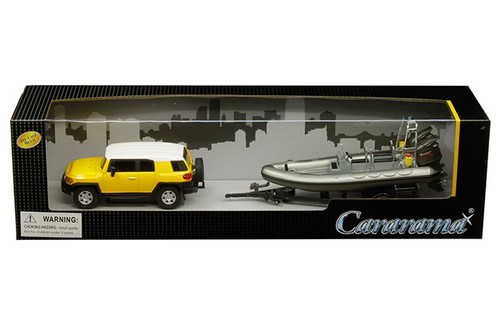Toyota FJ Cruiser With Speed Boat & Trailer 1/43 Scale Model By Cararama 48115