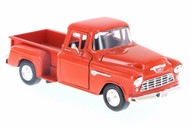1955 Chevrolet Stepside 5100 Pick Up Truck Orange 1/24 Scale Diecast Model By Motor Max 73236