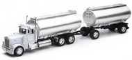 Peterbilt Model 379 Twin Oil Tanker Semi Truck & Trailer 1/32 Scale By Newray 14333