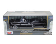 1958 Chevrolet Impala Convertible Black 1/24 Scale Diecast Car Model By Motor Max 73267