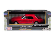1964 1/2 Mustang Coupe Red 1/24 Scale Diecast Car Model By Motor Max 73273