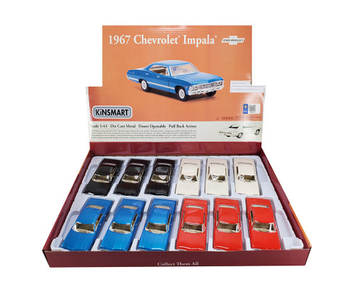 "1967 Chevrolet Impala 5"" Long Diecast Car Model Box Of 12 By Kinsmart KT 5418"