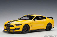 Ford Shelby GT-350R Triple Yellow Black Stripes 1/18 Scale Diecast Car Model By AUTOart 72932