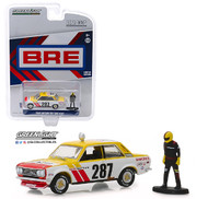 1971 Datsun 510 Wide Body BRE #287 With Racing Figure JDM Bishop Exclusive 1/64 Scale Diecast Car Model By Greenlight 51246F