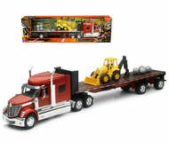 International Lonestar Flatbed Semi Truck Trailer With Front Loader & Boulders 1/32 Scale By Newray 10393