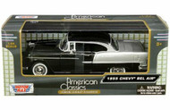 1955 Chevrolet Bel Air Black 1/24 Scale Diecast Car Model By Motor Max 73229